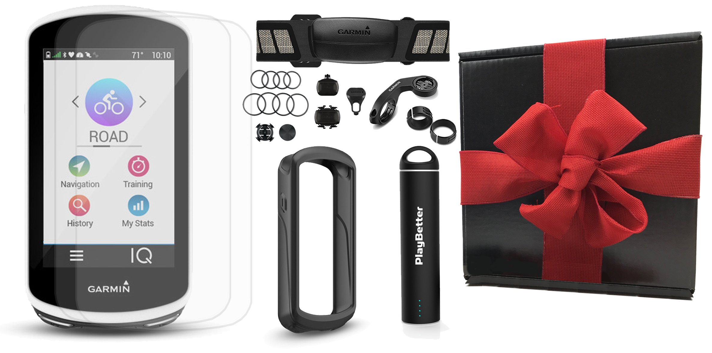 Garmin Edge 1030 Gift Box Bundle | with PlayBetter Silicone Case, Screen Protectors & Portable Charger | Mounts | GPS Bike Computer | Gift Box (+HRM +Speed/Cadence Senors, Black Case)