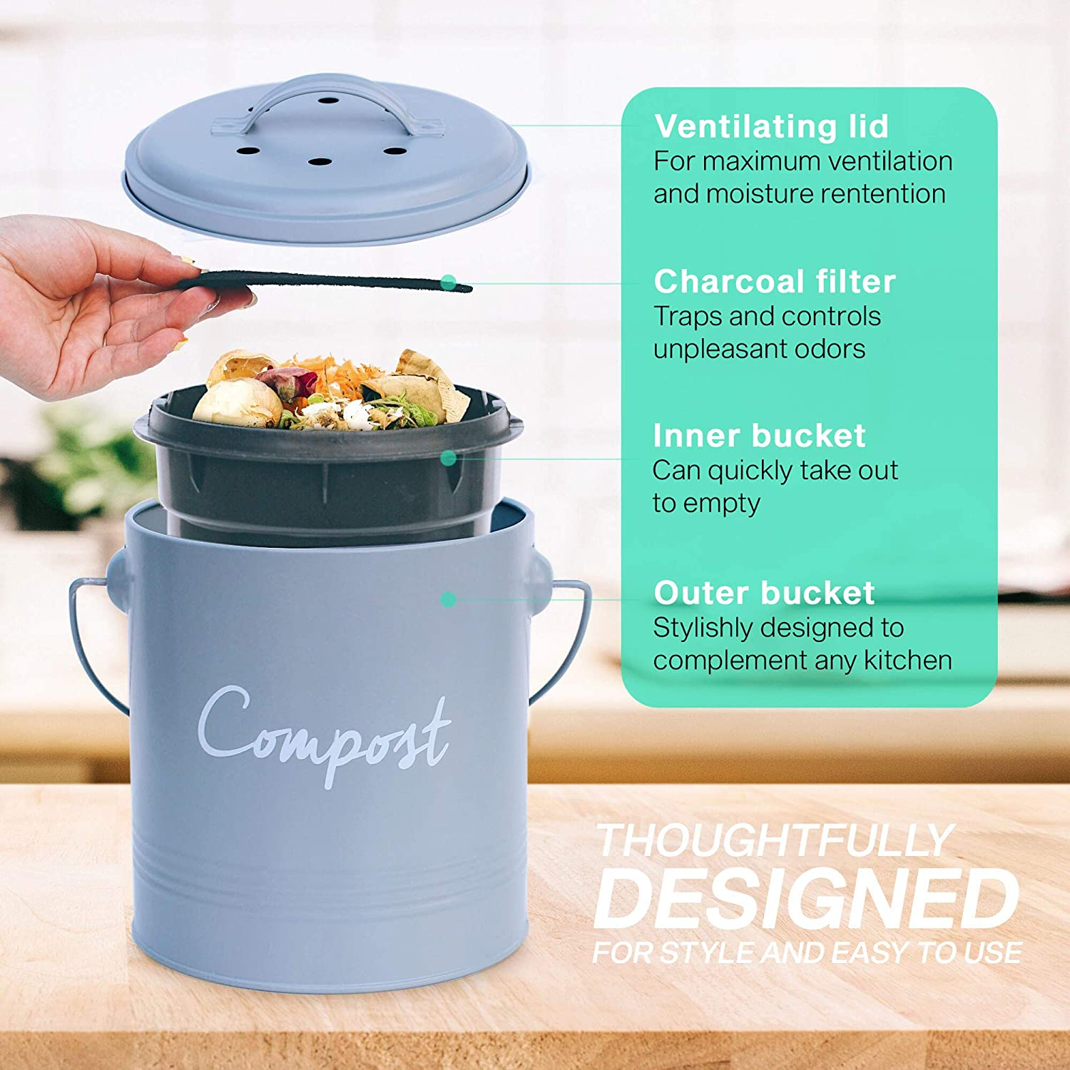 Amazon.com: Cubo de compost, cubo de acero inoxidable para ...