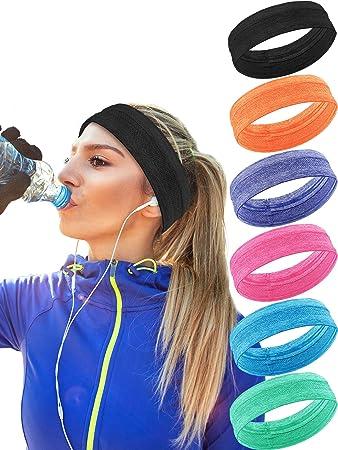 4376c5d4c1aa 6 Pieces 6 Colors Sweatband Elastic Sport Head Bands Non Slip Athletic  Headband Moisture-wicking