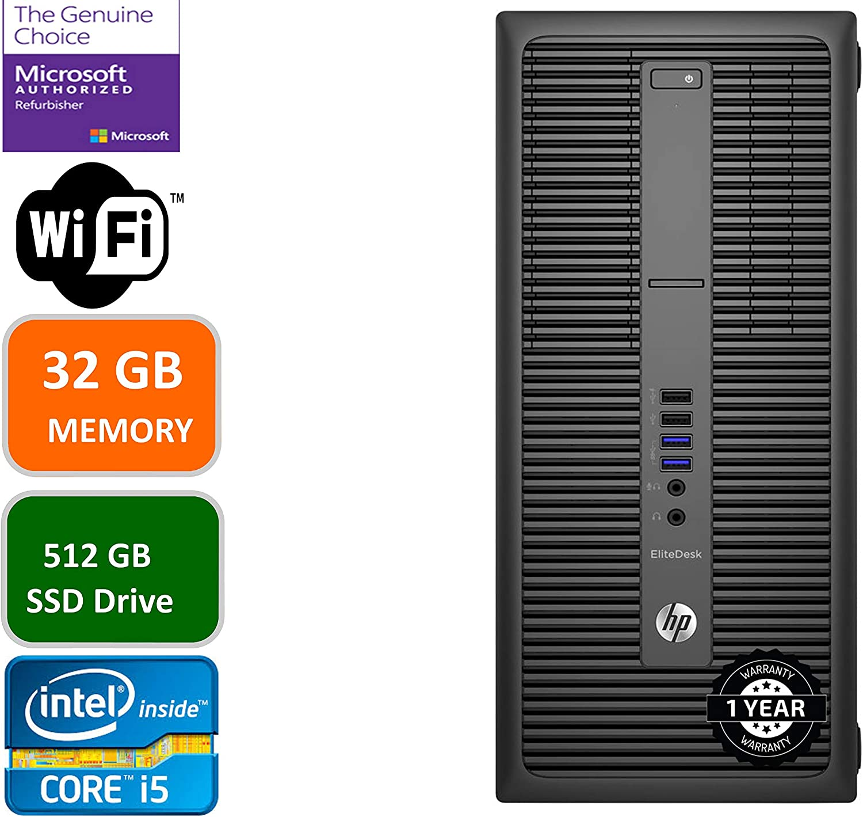 HP EliteDesk 800 G2 Business Desktop Mini Tower, Intel Core i5 6500 3.2Ghz, 32GB DDR4 RAM, 512GB SSD Hard Drive, Windows 10 Pro (Renewed)