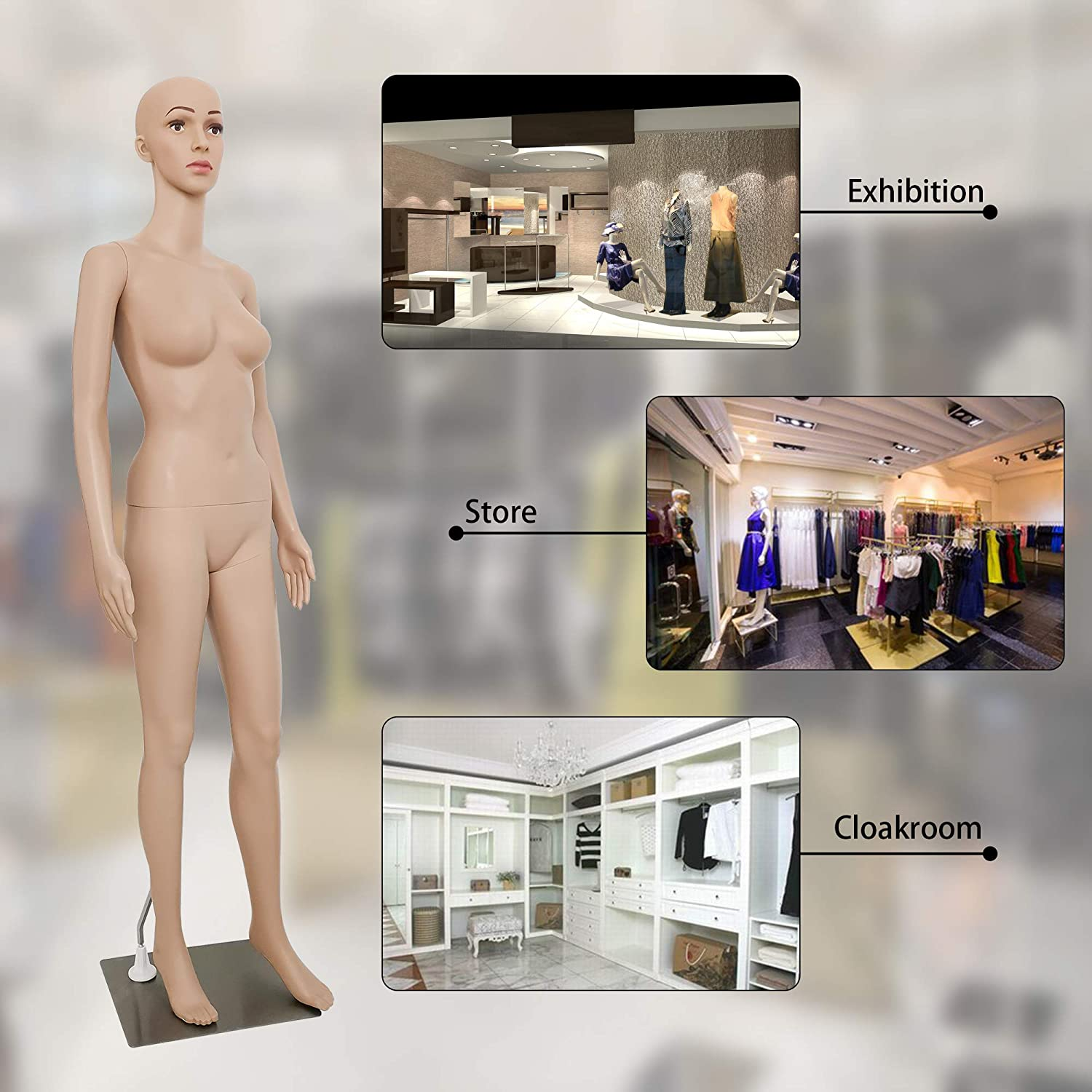 Female Mannequin Torso Dress Form Mannequin Body 69 Inches Adjustable Mannequin Dress Model Full Body Plastic Detachable Mannequin Stand Realistic Display Mannequin Head Metal Base