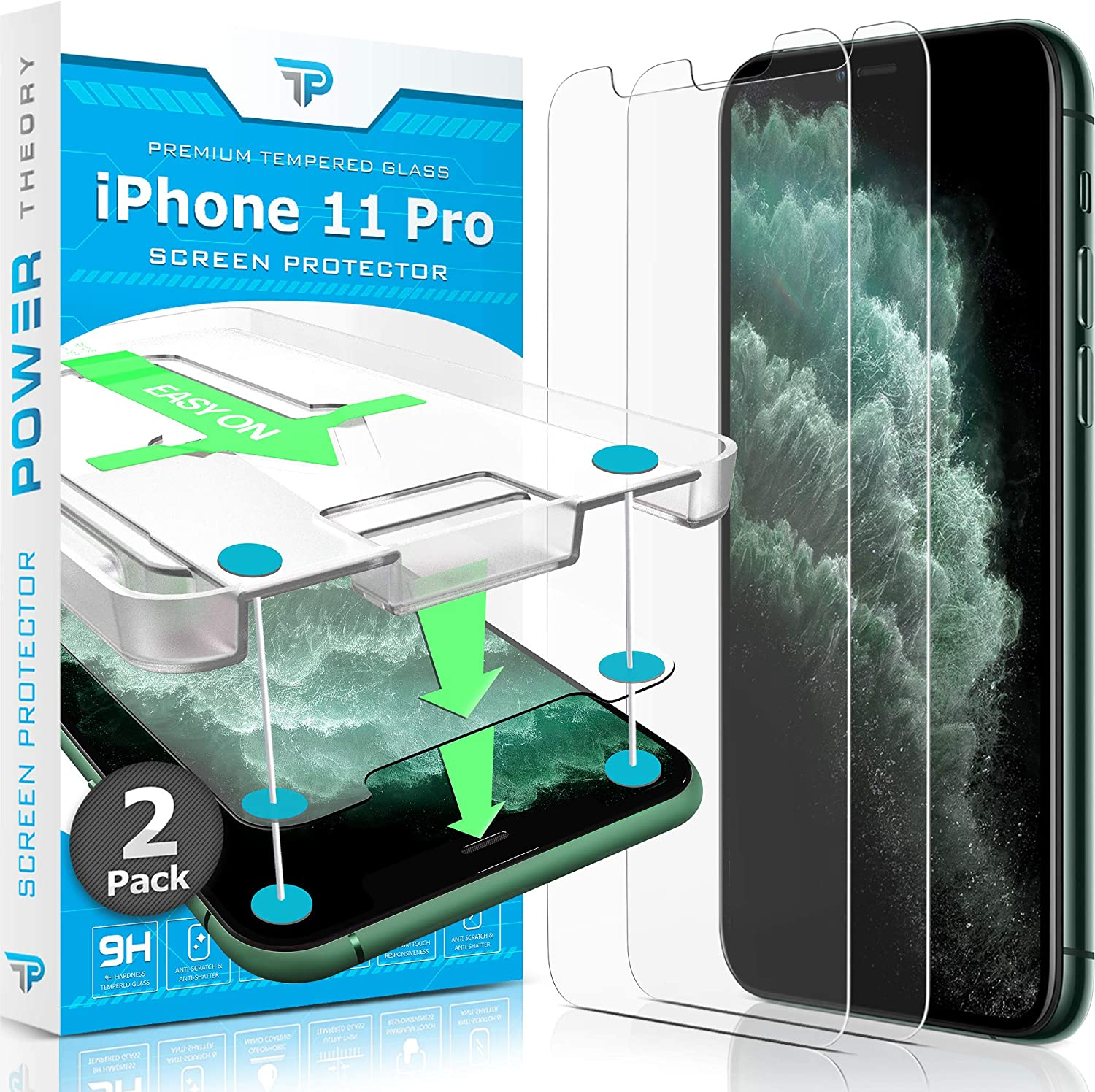 Amazon Com Power Theory Screen Protector For Iphone 11 Pro 2 Pack With Easy Install Kit Premium Tempered Glass For Iphone 11pro