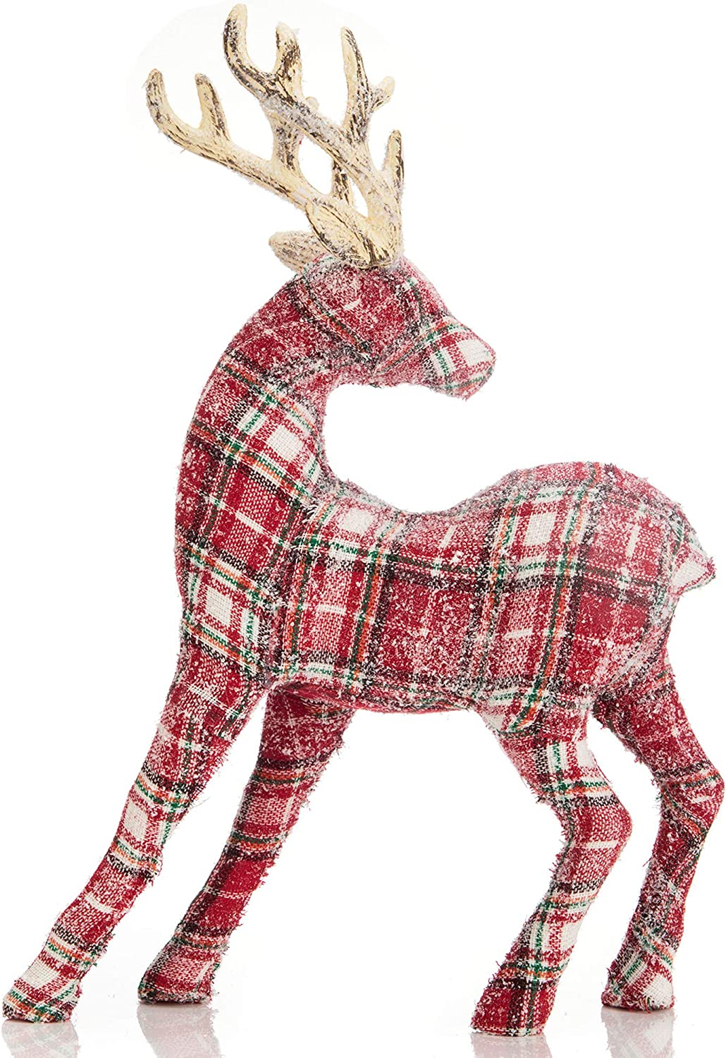 iPEGTOP Glitter Shiny Christmas Reindeer Holiday Figurine, 18 inch Large Table Desk Christmas Standing Deer Home Office Decor Statues Party Supplies, Red Tartan