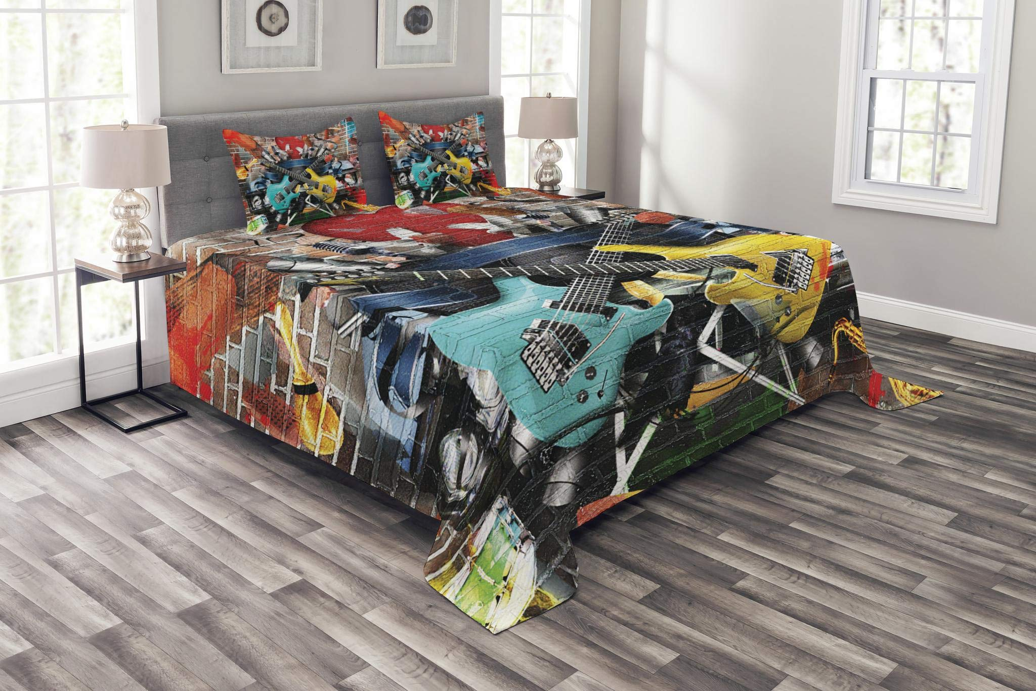 Ambesonne Music Bedspread Set Queen Size, Collage of Music Color and Musical Instruments Street Wall Art Joyful Nostalgia Print, Decorative Quilted 3 Piece Coverlet Set with 2 Pillow Shams, Multicolor