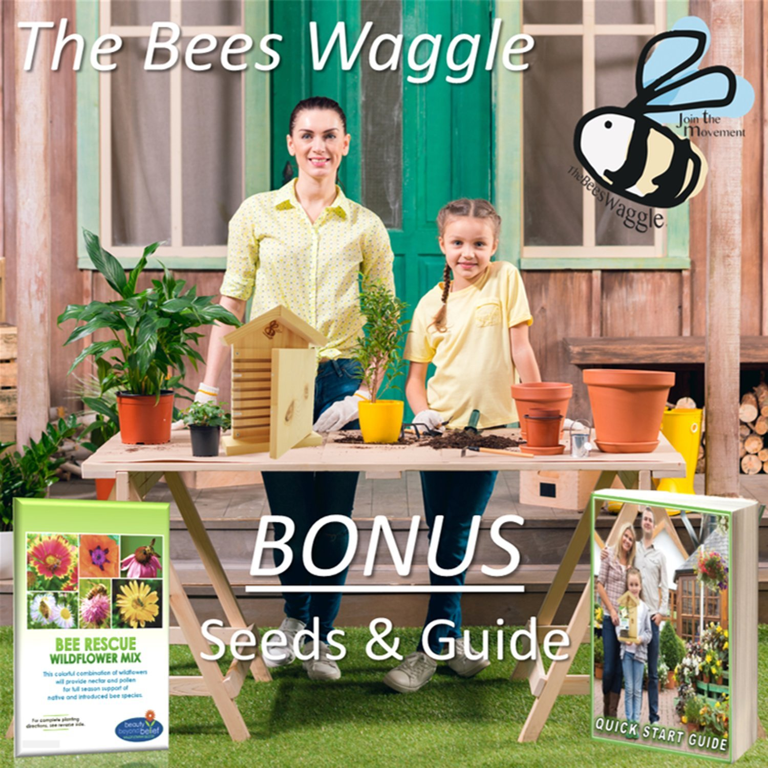 CRACK'N Special - Save $30 Now - Mason Bee House for Solitary Bees - Bonus Viewing Window, Wildflower Seeds, Guide - Wooden Beeblock Bee Home Nest to Attract Wild Native Bees to Garden - Great Gift by The Bees Waggle (Image #9)
