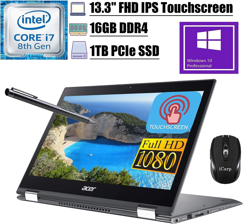 """2020 Premium Acer Spin 5 13 2 in 1 Laptop 13.3""""FHD IPS Touchscreen 8th Gen Intel Quad-Core i7-8565U up to 4.60 GHz 16GB DDR4 1TB PCIe SSD WiFi Webcam Stylus Pen Win 10 Pro + iCarp Wireless Mouse"""