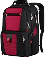 Laptop Travel Backpack, Large Capacity Computer Back Pack with Lots of Pockets,Water Repellent College Shoulder Bookbag with Usb Charging Port and Headphone Hole Fits 17.3 Inch Laptop,Macbook in Red