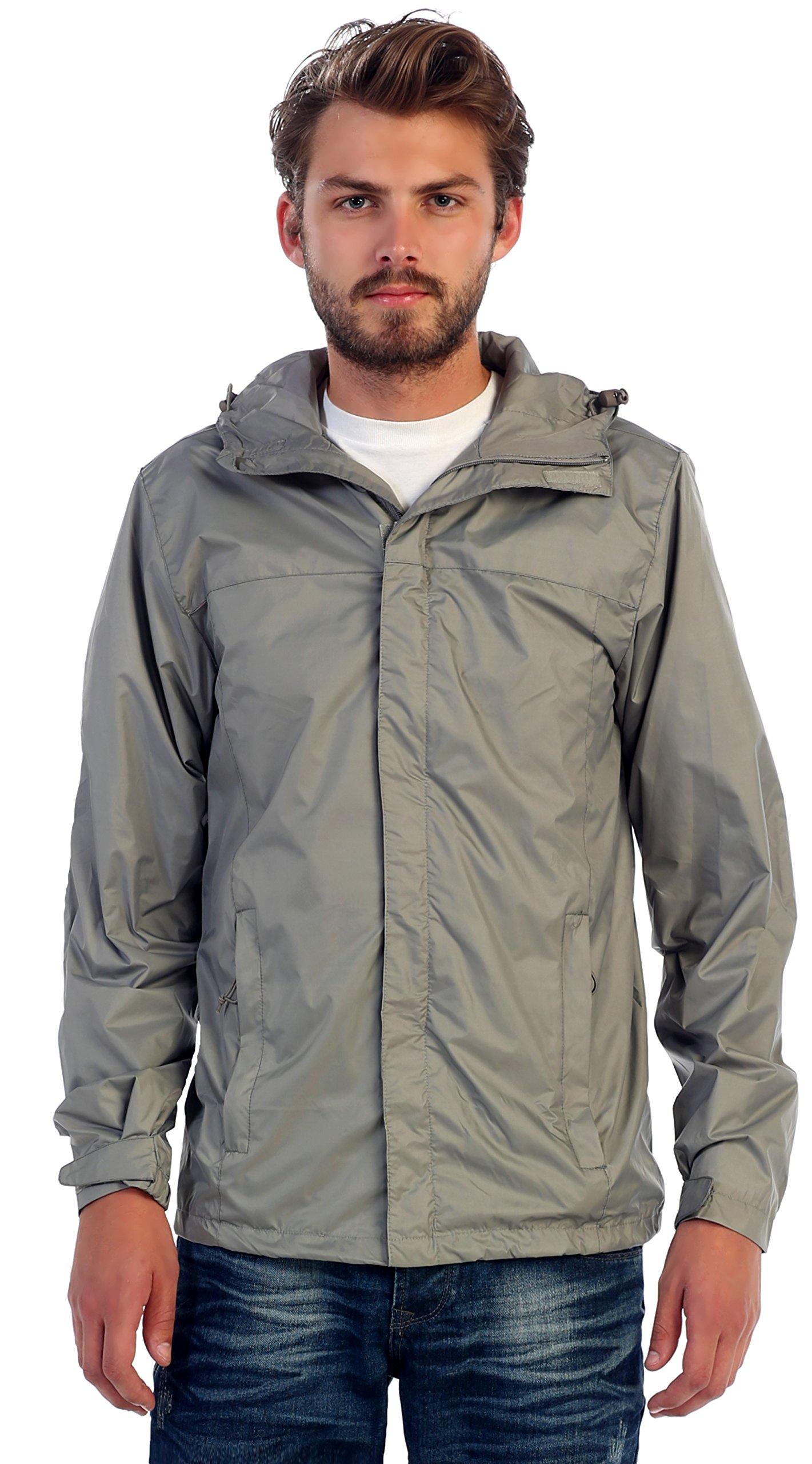 Gioberti Men's Waterproof Rain Jacket, Gray, L by Gioberti