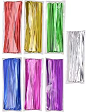 "Mini Skater 700pcs 4"" Metallic Twist Ties for Tying Gift Bags Art Craft Ties Party Decoration- Colored (7 Colors)"