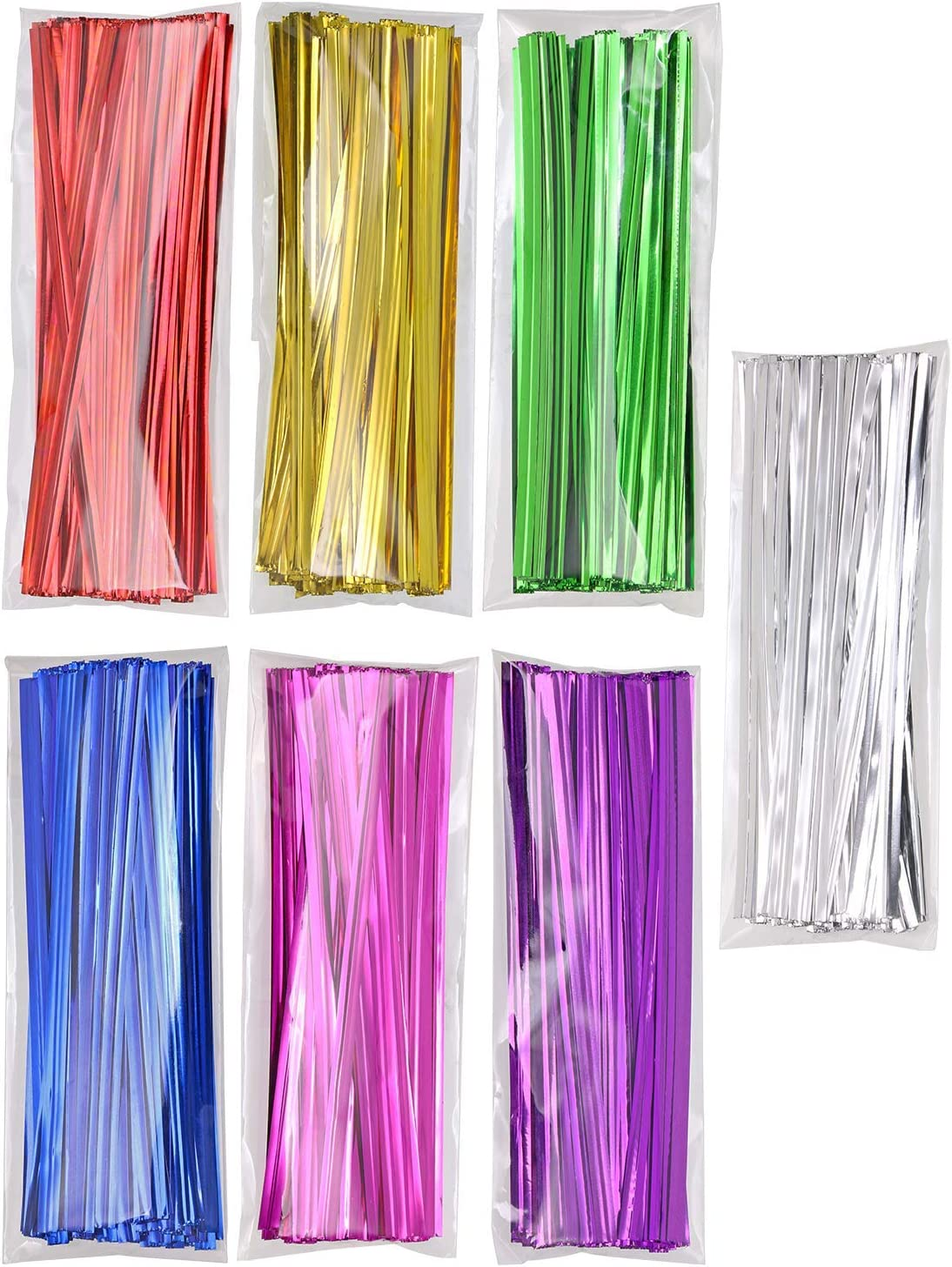 Gold Color Mini Skater 6 Inch Colored Metallic Twist Ties for Tying Gift Bags Art Craft Ties Party Decoration
