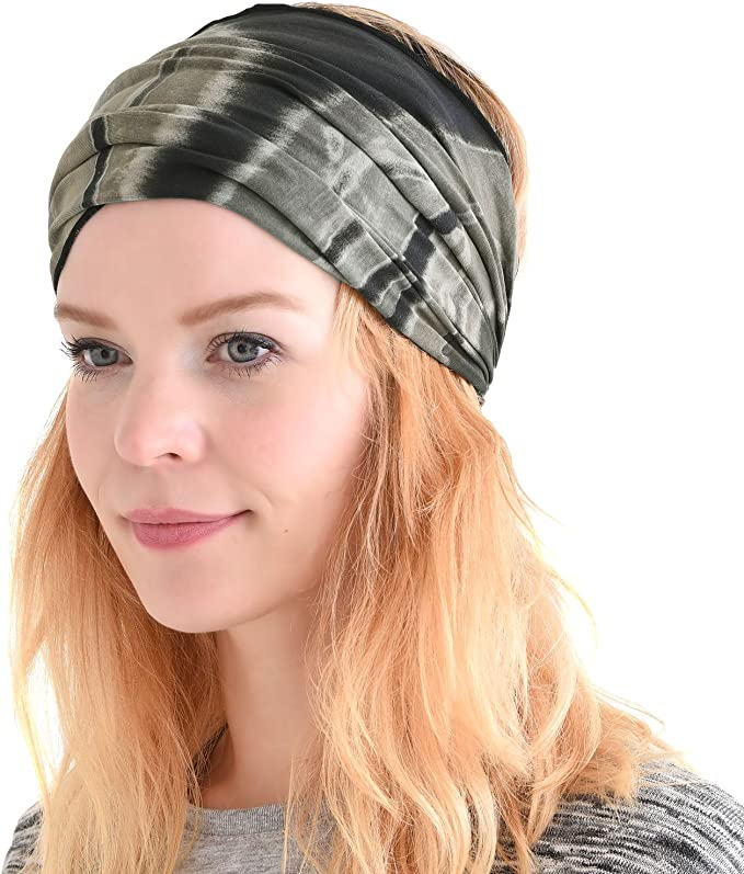 Pink blue bonbon boho gypsy hair tie wrap chain scarf headband crochet womans