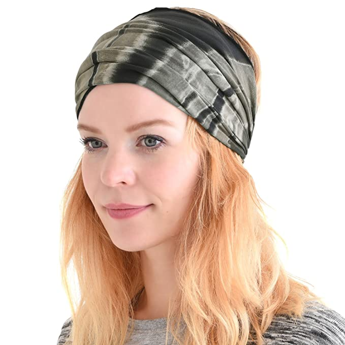 Womens Bandana Headband Headwrap - Mens Hippie Hair Band Japanese Boho Hand  Dye Dread Wrap Black 98ef0302b41