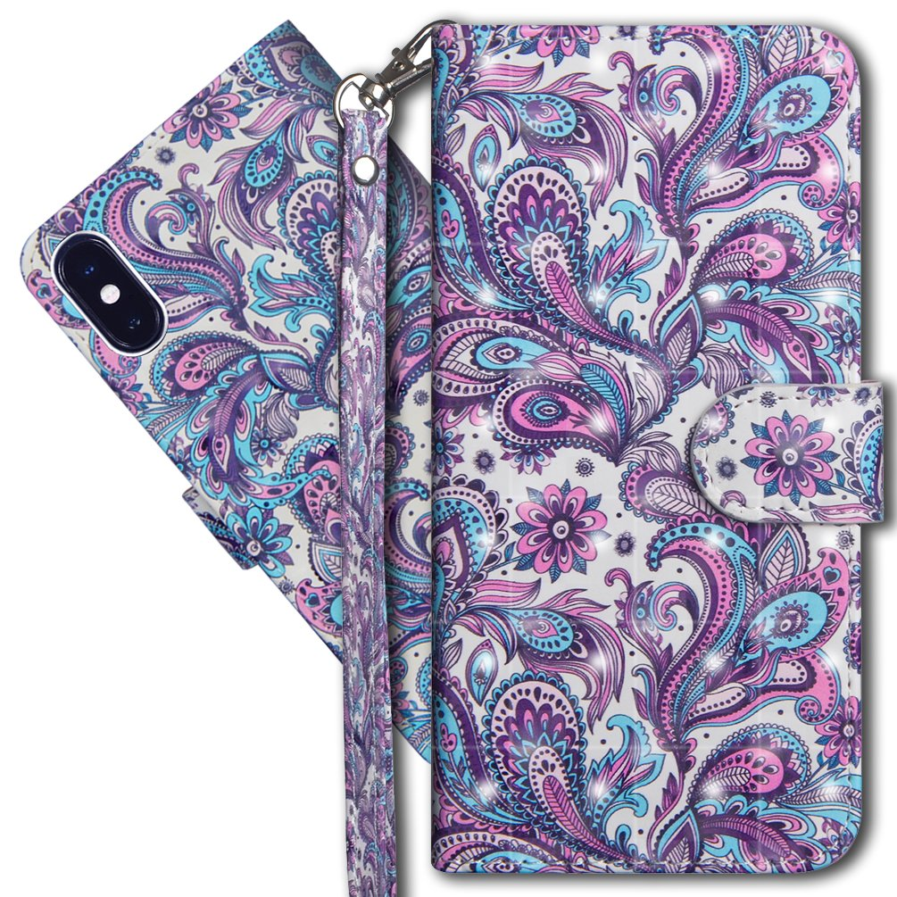 COTDINFORCA 3D Creative Painted Effect Design Full-Body Protective Cover for Apple iPhone X//iPhone 10-5.8 inch PU- Tree Cat iPhone X Wallet Case iPhone X Premium PU Leather Case