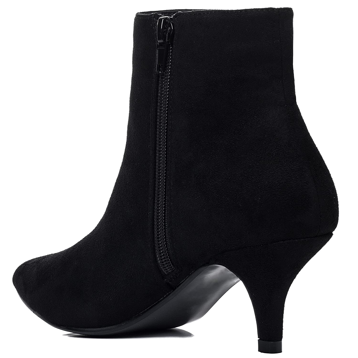 Kitten Heel Ankle Boots Shoes Black Suede Style Sz 8: Amazon.co.uk: Shoes &  Bags