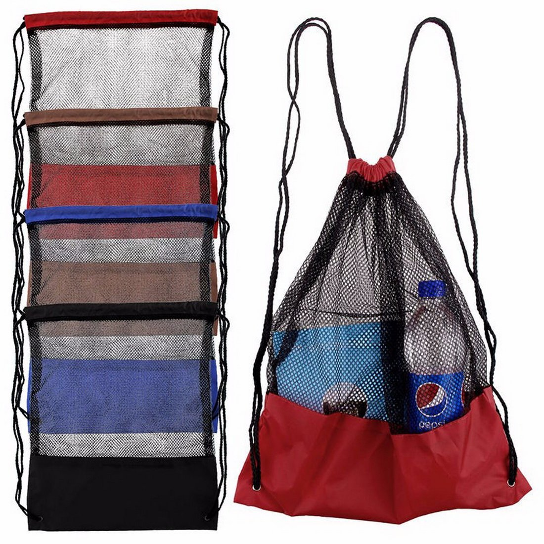 Gym Sack Drawstring Bag Set 5 Pc Tavel Backpack Camping Hiking Mesh Sackpacks