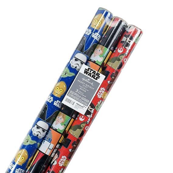 Hallmark Disney Princess Geschenkpapier mit Schnittlinien Star Wars, 3 Pack