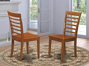 Milan kitchen chair with Wood Seat - Saddle Brown Finish