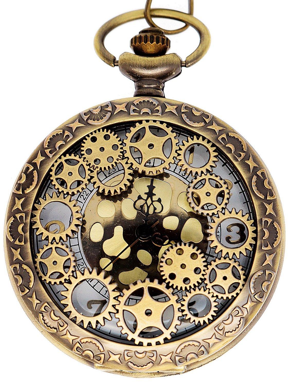 Steampunk Bronze Hollow Skeleton Gear Quartz Pocket Watch
