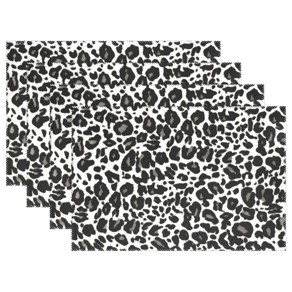 WOZO Leopard Print Placemat Table Mat, Animal Zebra Print 12'' x 18'' Polyester Table Place Mat for Kitchen Dining Room Set of 4