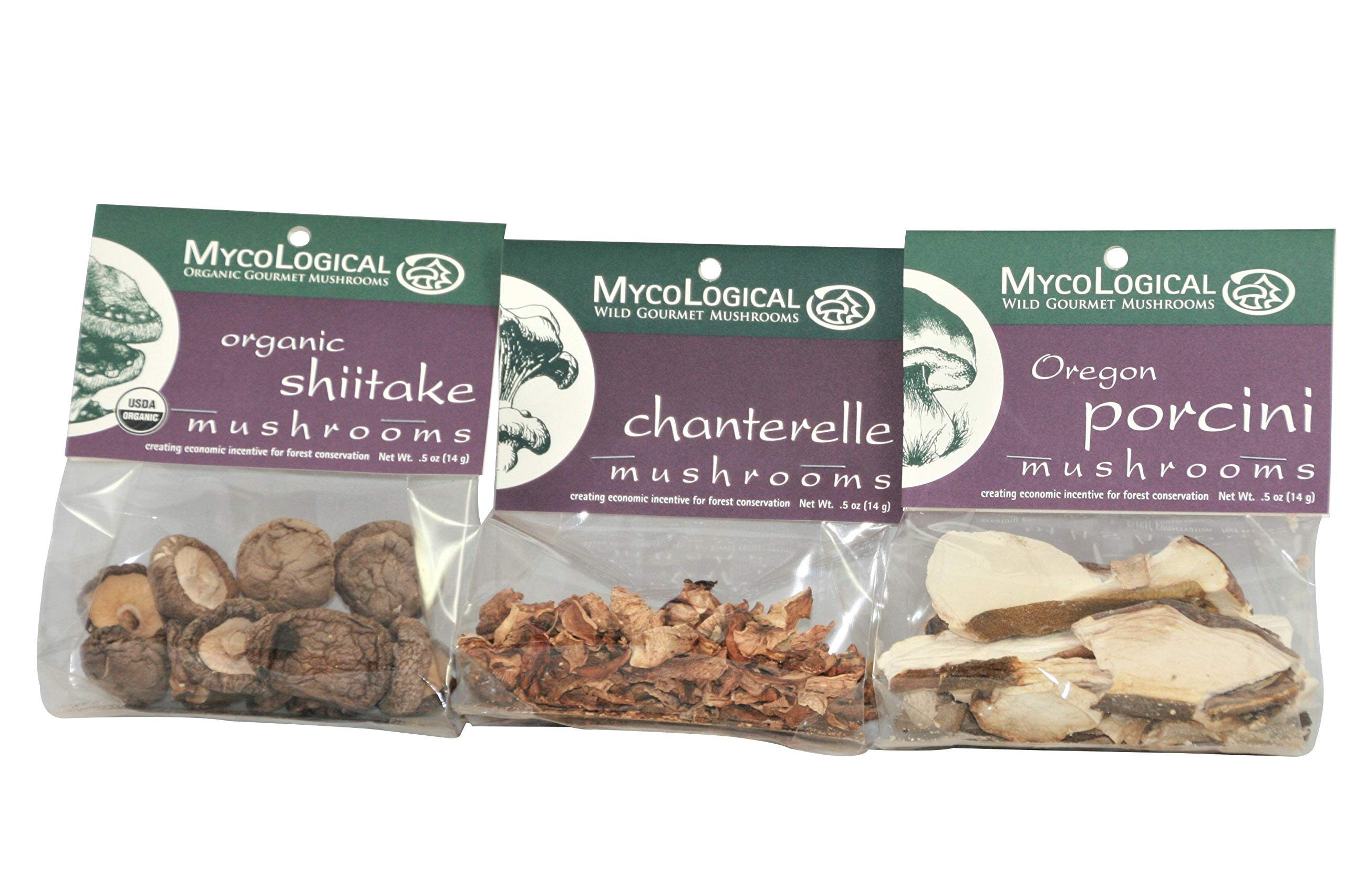 Mycological 0.5 oz Gourmet Dried Mushrooms - One Each Chanterelle, Shiitake, and Porcini