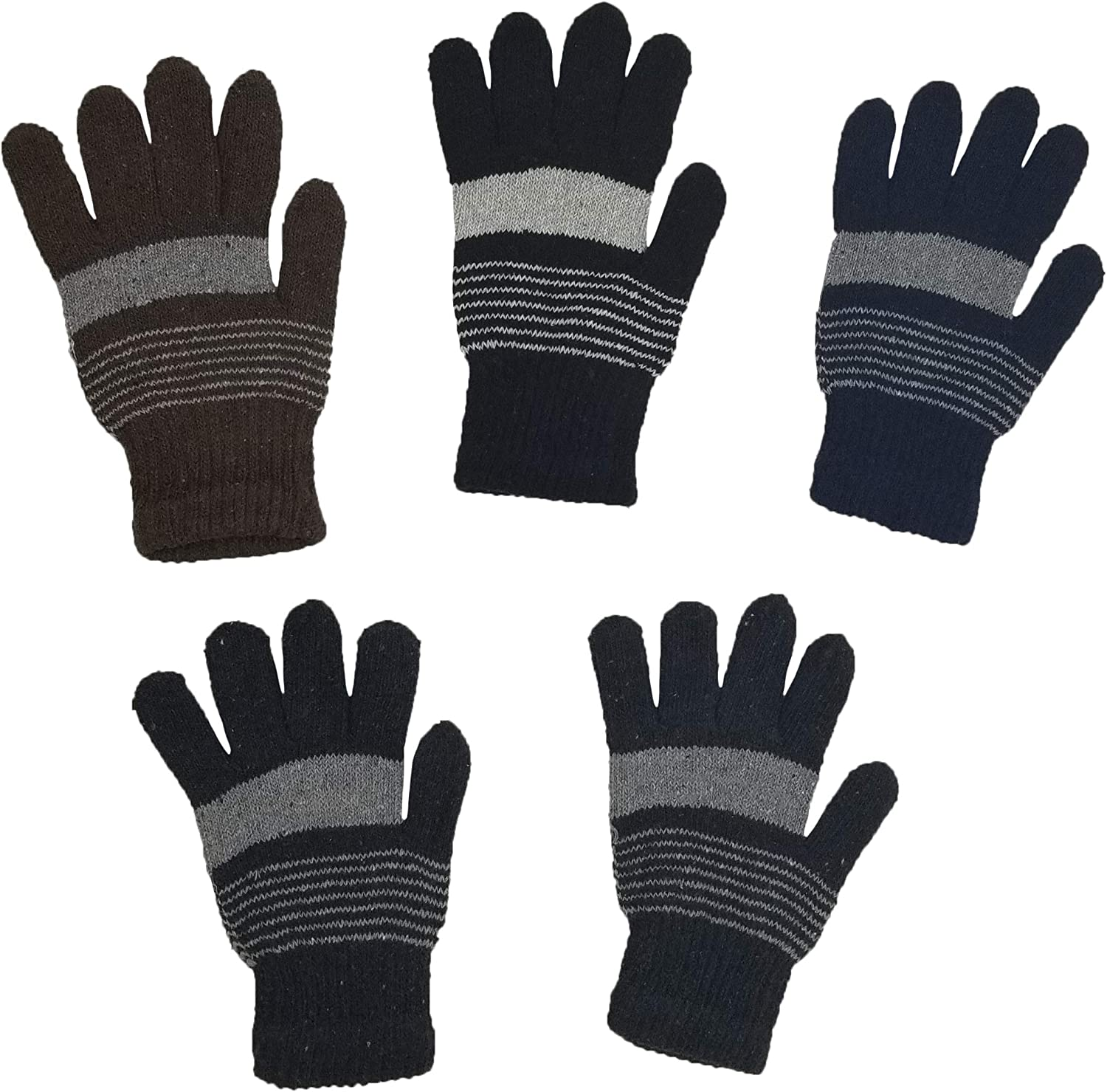 I/&S Womens Warm Stretchy Winter Magic Gloves Black Assorted Solid Colors 6 or 12 Pairs