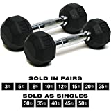 SPRI Dumbbells Hand Weights Deluxe Rubber Encased Chrome Handle All-Purpose Dumbbell (Available in 3, 5, 8, 10, 12, 15, 20, 25, 30, 35, 30, 45, 50 Pounds)