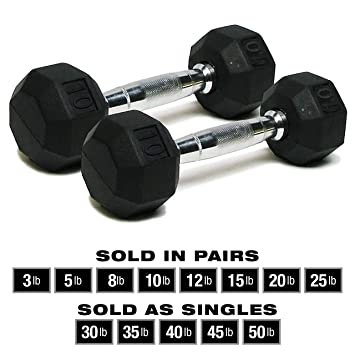 SPRI Dumbbells Hand Weights Deluxe Rubber Encased Chrome Handle All-Purpose  Dumbbell (Available in 3, 5, 8, 10, 12, 15, 20, 25, 30, 35, 30, 45, 50