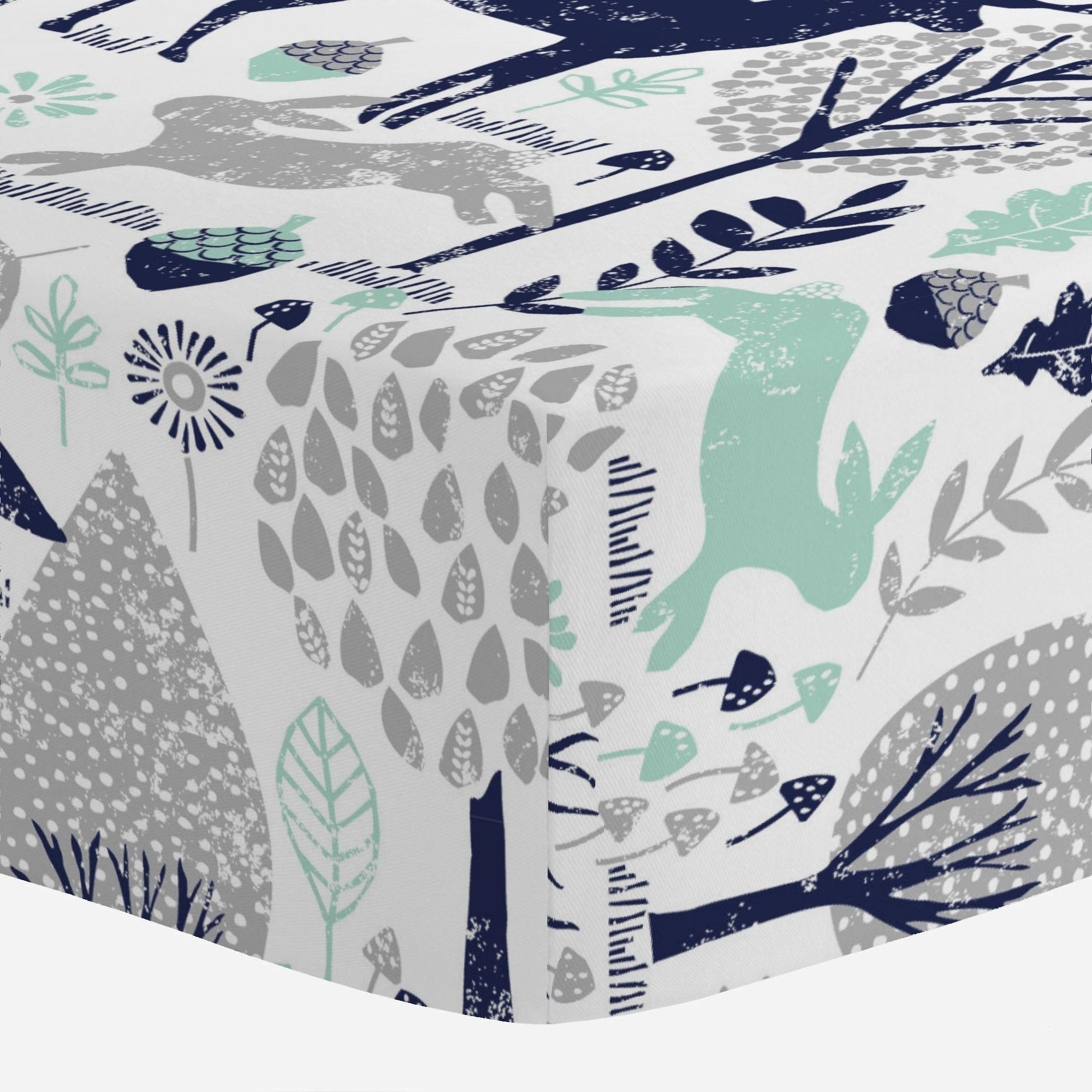 Carousel Designs Navy and Mint Woodland Animals Crib Sheet - Organic 100% Cotton Fitted Crib Sheet - Made in The USA by Carousel Designs