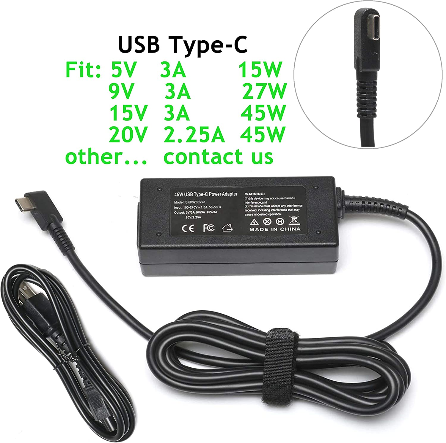 45W USB Type C AC Charger for HP Spectre x360 13 TPN-CA01;Lenovo Yoga 720 910 720-13IKB 910-13IKB;Miix 720-12ikb;IdeaPad 720s;Thinkpad X1 Tablet Yoga 5 Pro GX20M33579 Laptop Power Adapter Supply Cord