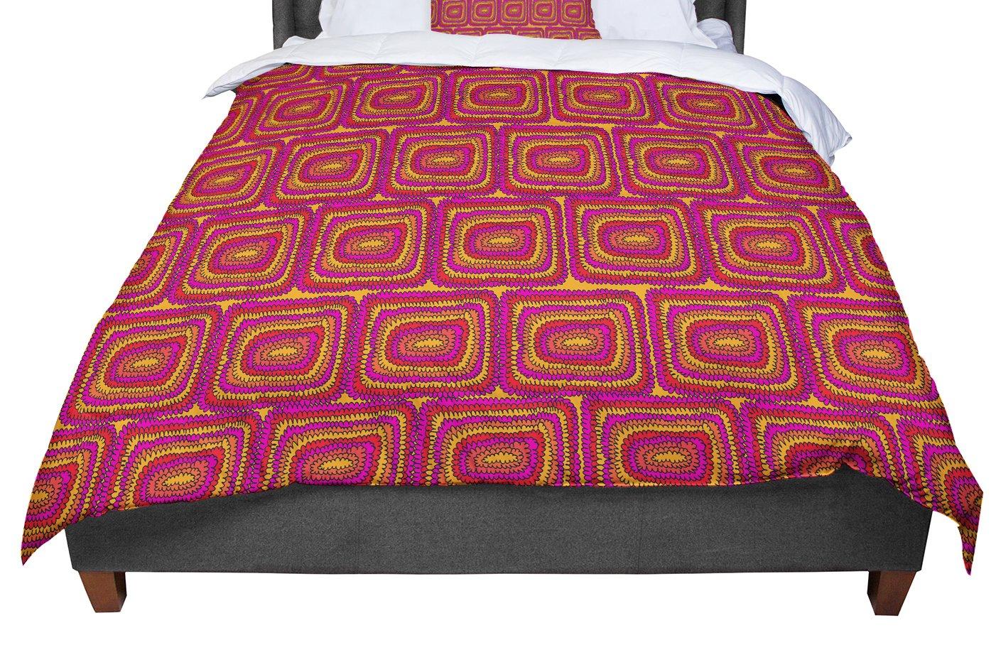 68 X 88 KESS InHouse Nandita Singh Decorative Motif Pink Bronze Floral Twin Comforter