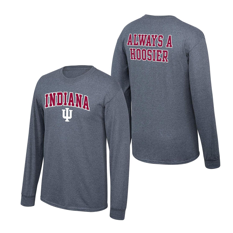Elite Fan Shop NCAA Mens Indiana Hoosiers Long Sleeve Shirt Dark Heather Back Indiana Hoosiers Dark Heather Large