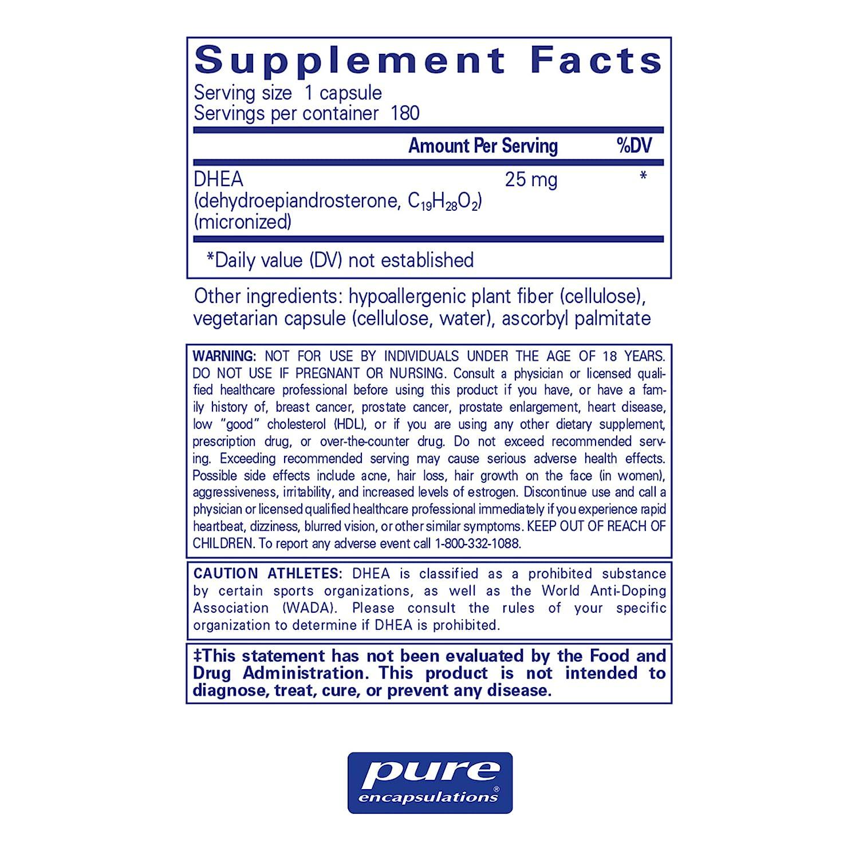 Pure Encapsulations - DHEA (Dehydroepiandrosterone) 25 mg - Micronized  Hypoallergenic