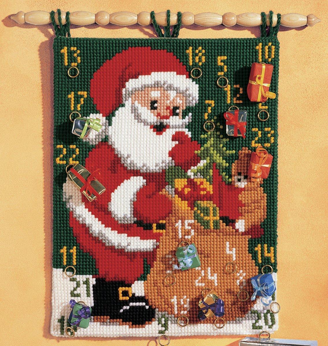 Calendario de adviento de Punto de Cruz dise/ño de Pap/á Noel 40 x 53 cm Vervaco