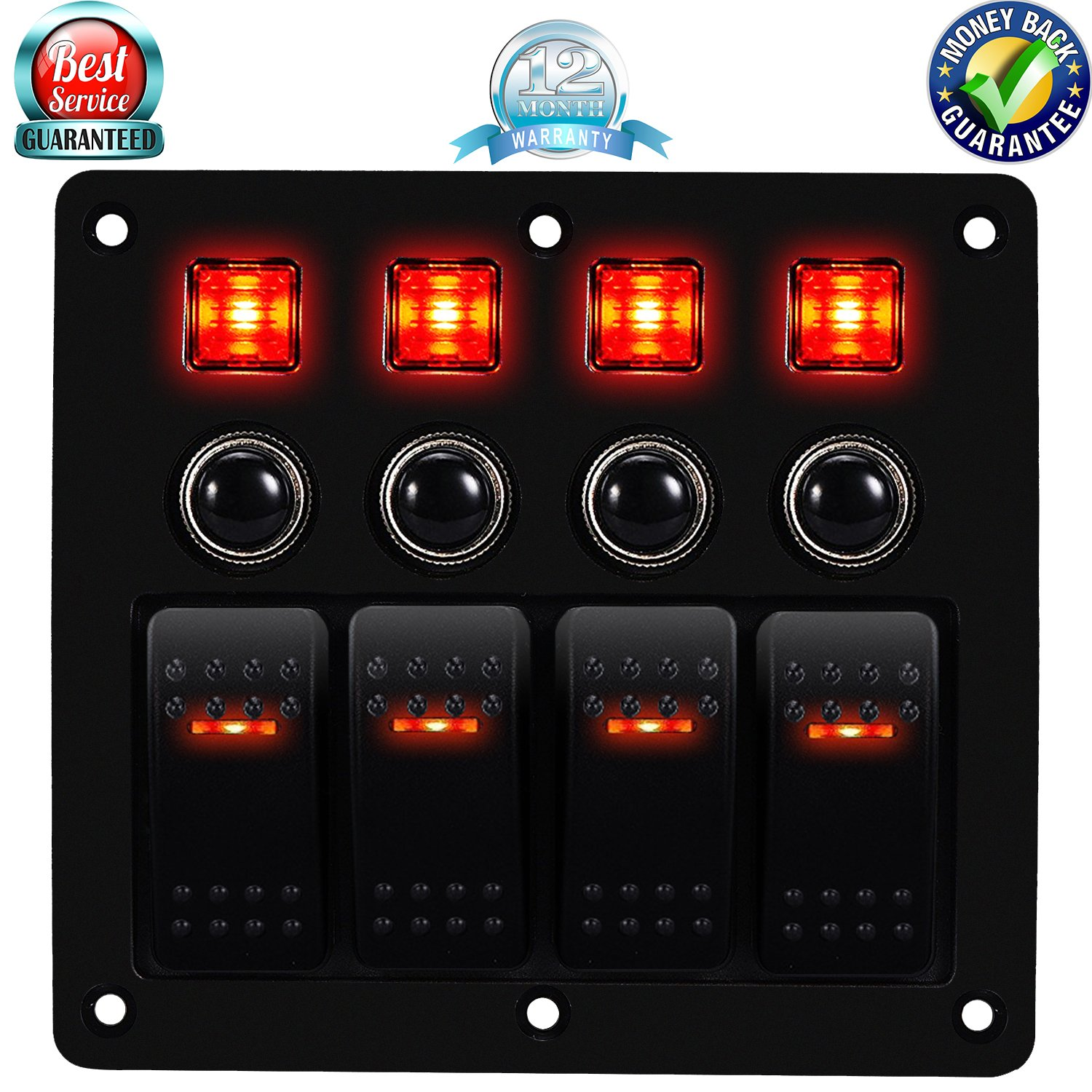 DCFlat 3 Gang Rocker Switch Panel with Power Socket 3.1A Dual USB Wiring Kits and Decal Sticker Labels DC12V/24V for Marine Boat Car Rv Vehicles Truck Blue Led