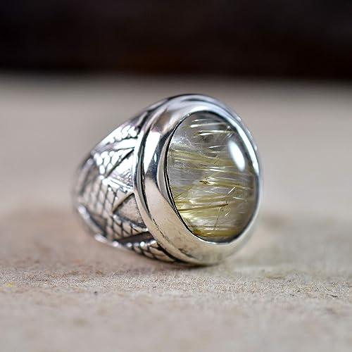 Golden rutile quartz ring size 9 US handmade tribal design geometric design silver 925 silversmith