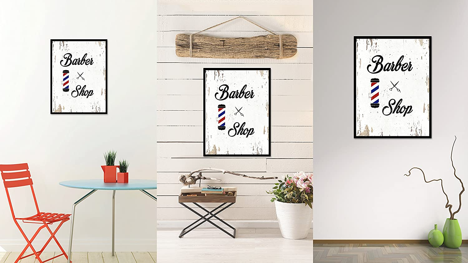 SpotColorArt Barber Shop Handcrafted Canvas Print 22 x 29 White Spot Color Art QUOTEBEACH150-111462WH2229B