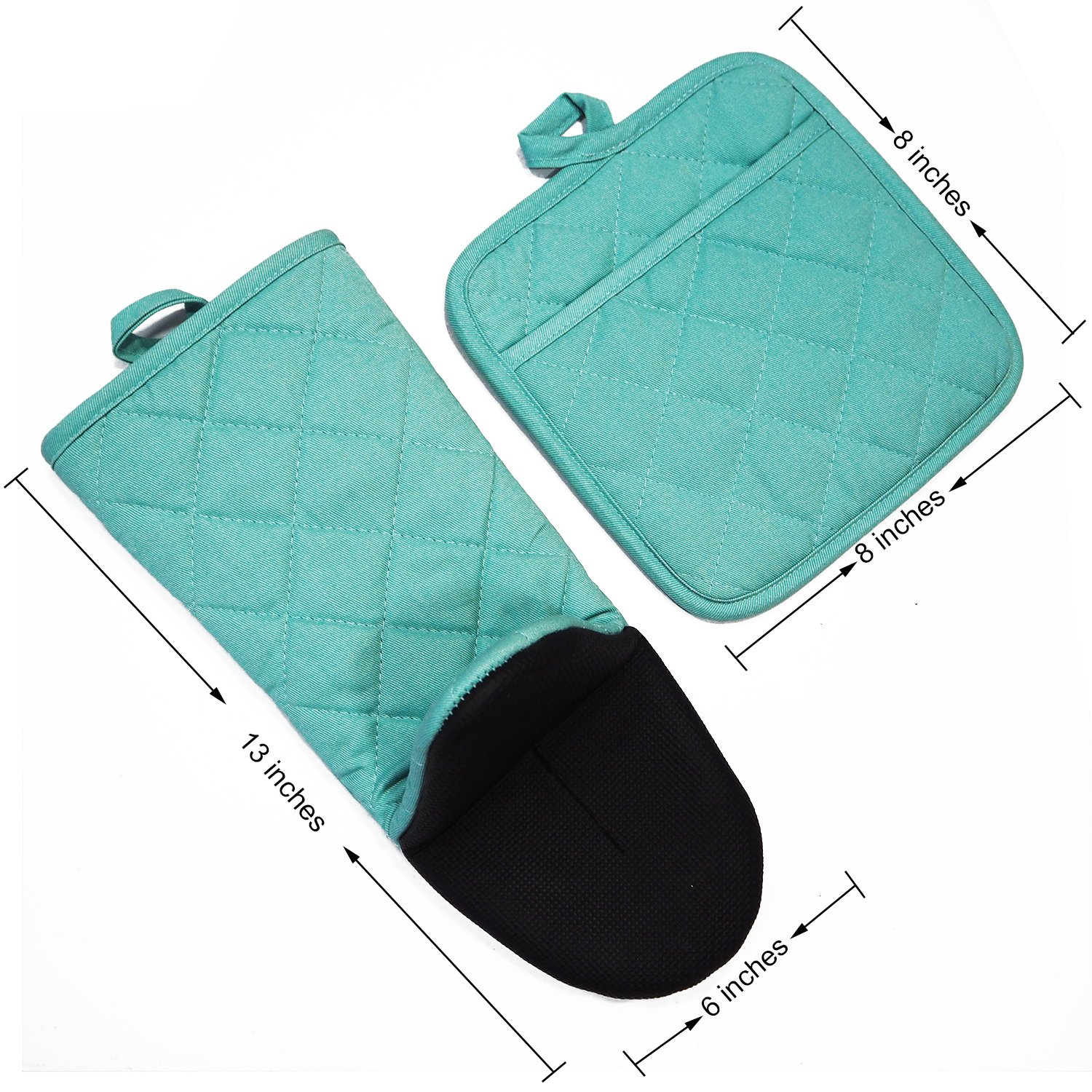 DETA HOME Cotton Oven Mitt & Pot Holder Kitchen Set With Neoprene Non-Slip Grip, Heat Resistant, 2pcs set (Neoprene, Light blue) by DETA HOME (Image #2)
