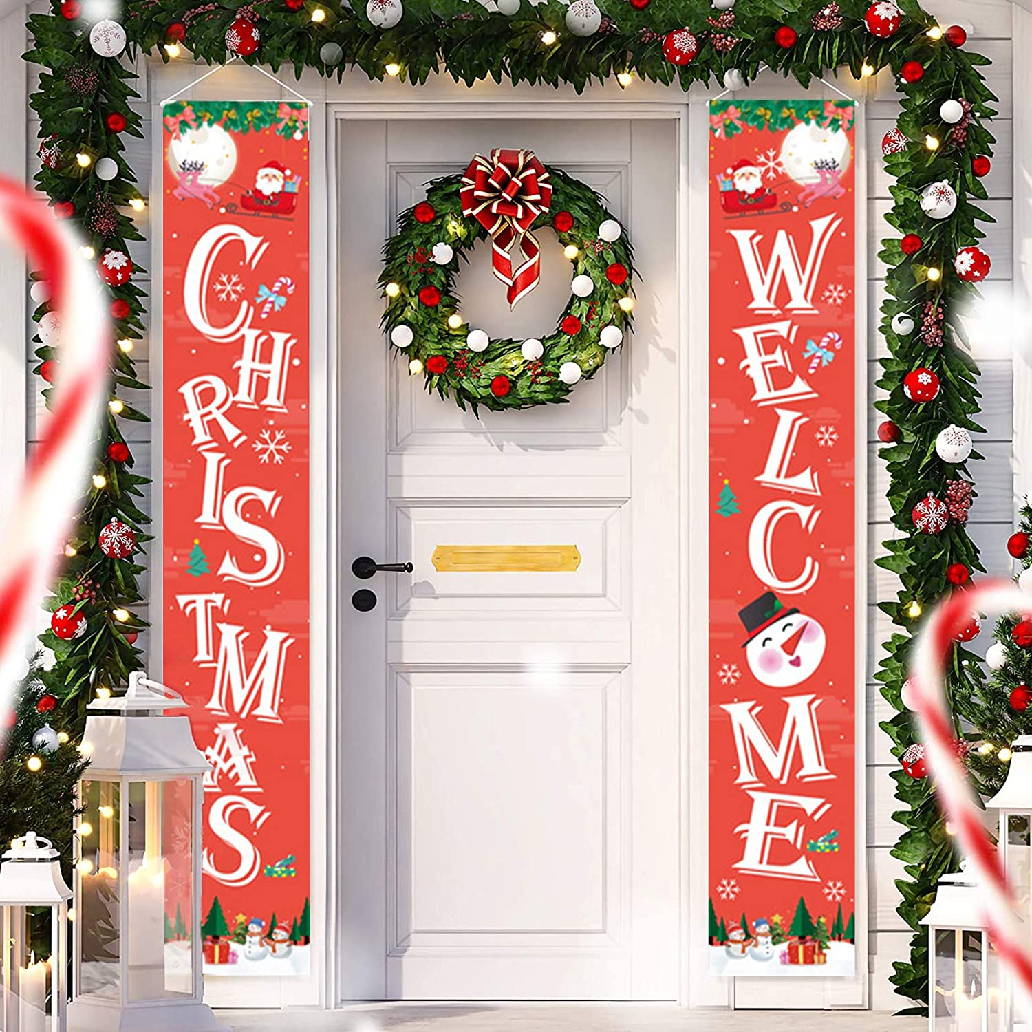 Directtyteam Christmas Porch Sign, Welcome and Christmas - Xmas Hanging Christmas Banners for Holiday Home Indoor Outdoor Porch Wall Door Curtain Decoration