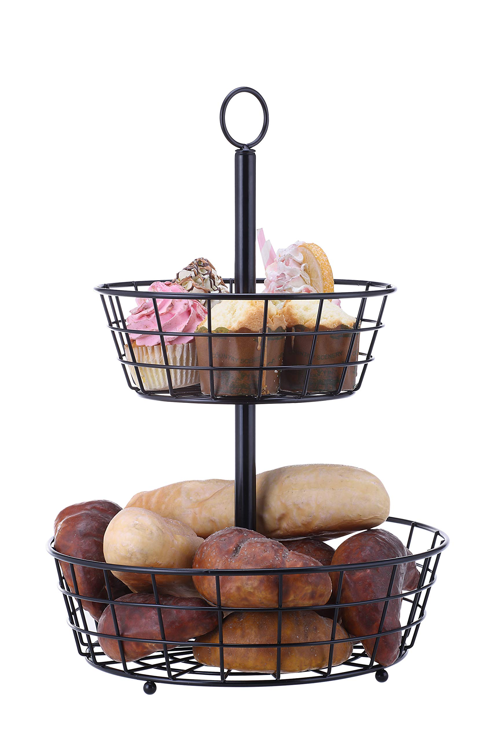 SunnyPoint Tabletop 2-Tier Countertop Fruit Basket Stand by SunnyPoint (Image #2)