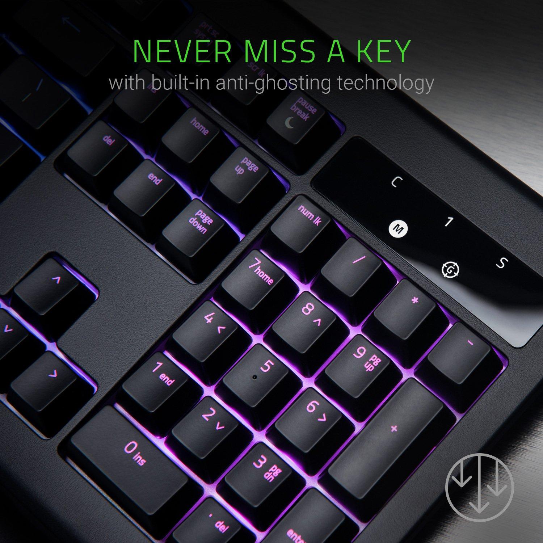 Razer Orange Mechanical Switches Razer BlackWidow Chroma V2: Esports Gaming Keyboard 5 Dedicated Macro Keys Ergonomic Wrist Rest Tactile and Silent