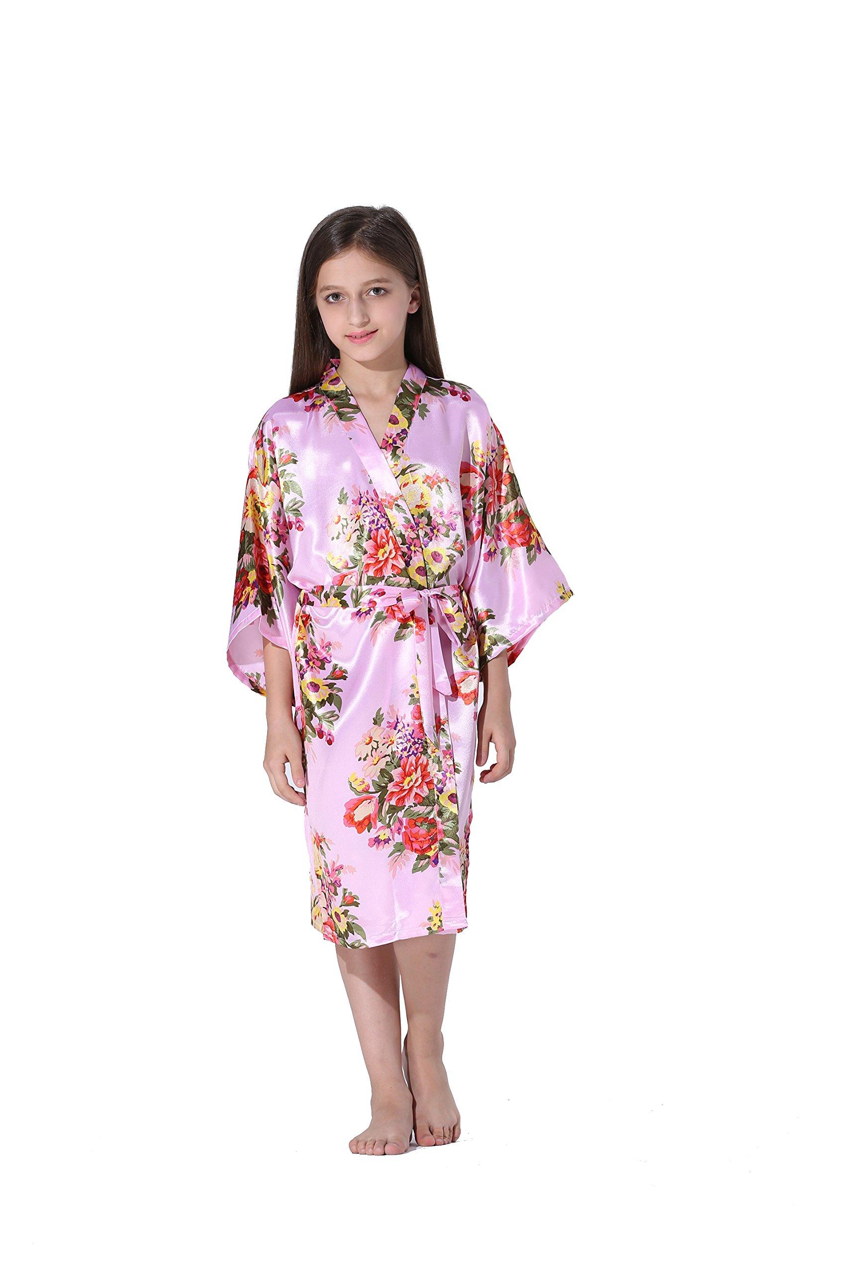 Vogue Forefront Girls' Floral Print Satin Kimono Robe Bathrobe, Size 8, Pink
