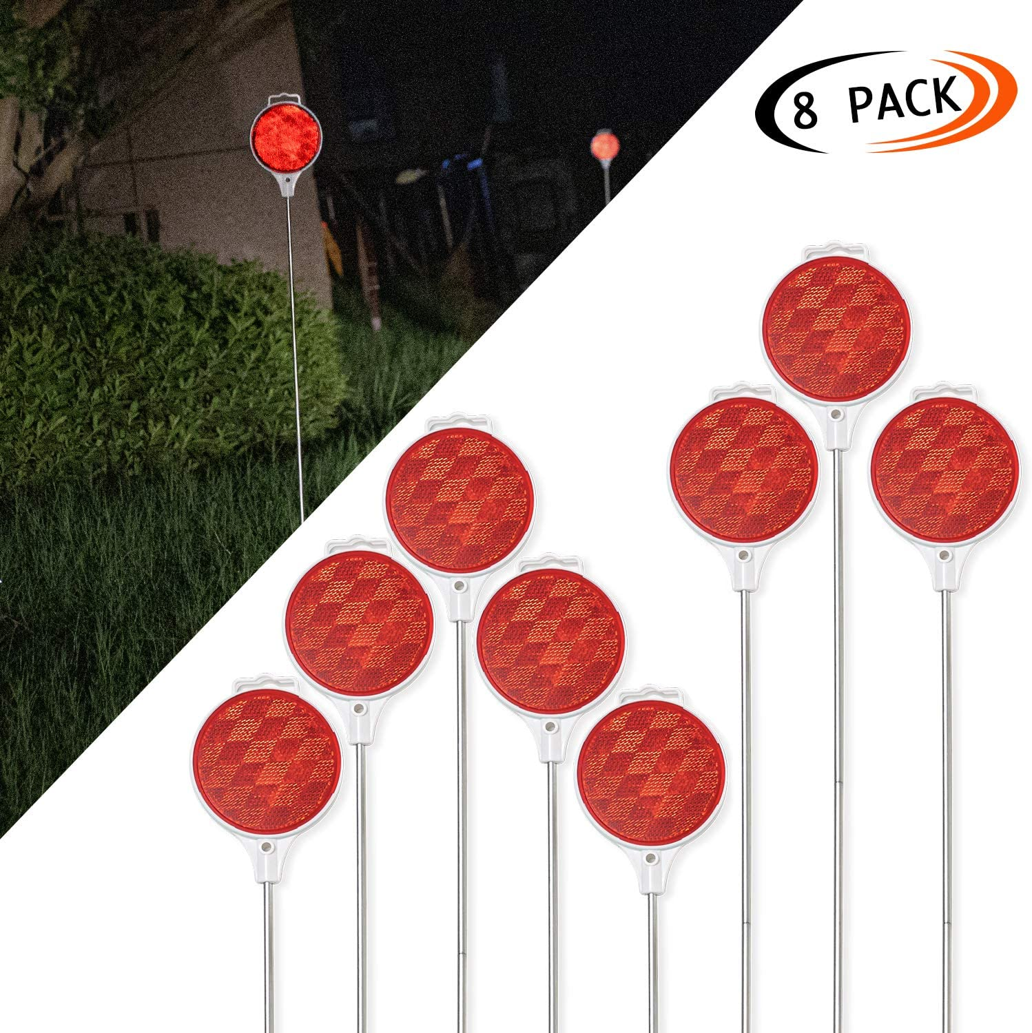 CZC AUTO Red Reflective Driveway Markers 37.5-inch Double Sided Metal Post Driveway Reflectors for Easy Visibility at Night or Any Weather 8 Pack