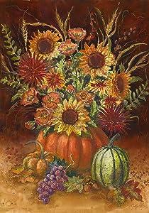 Toland Home Garden Fall Burst 28 x 40 Inch Decorative Autumn Sunflower Pumpkin Bouquet House Flag