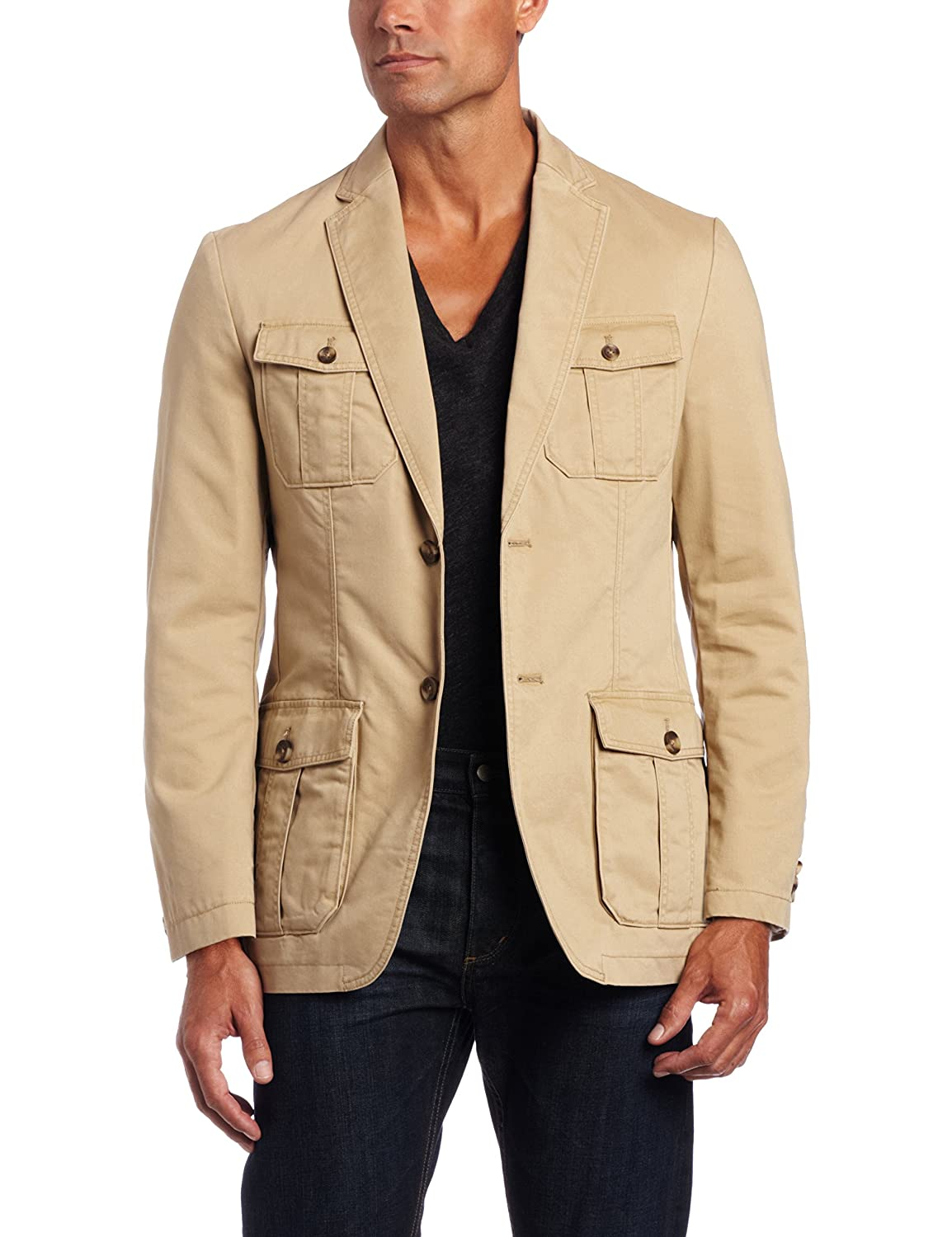 Haggar Men's LK Life Khaki Two-Button Oxford Jacket Khaki 48 R Haggar Men's Tailored HJ00089