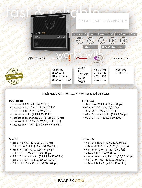 Egodisk pro 512gb cfast 2. 0 card - (blackmagic ursa mini | bmpcc pocket | 4k • 4. 6k • 6k | canon • xc10 • xc15 • 1dx markii • c200 • c300 | hasselblad h6d-50c • h6d-100c) - 3 year warranty 4 egodisk. Com 3 year usa limited warranty global shipping video performance guarantee-230 ( vpg-230 ) 512gb cfast 2. 0 vpg230 speed: 565mb/s 3 year warranty
