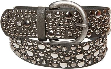 TALLA 80. styleBREAKER Cinturón ancho tachonado en estilo vintage con pedrería para mujer