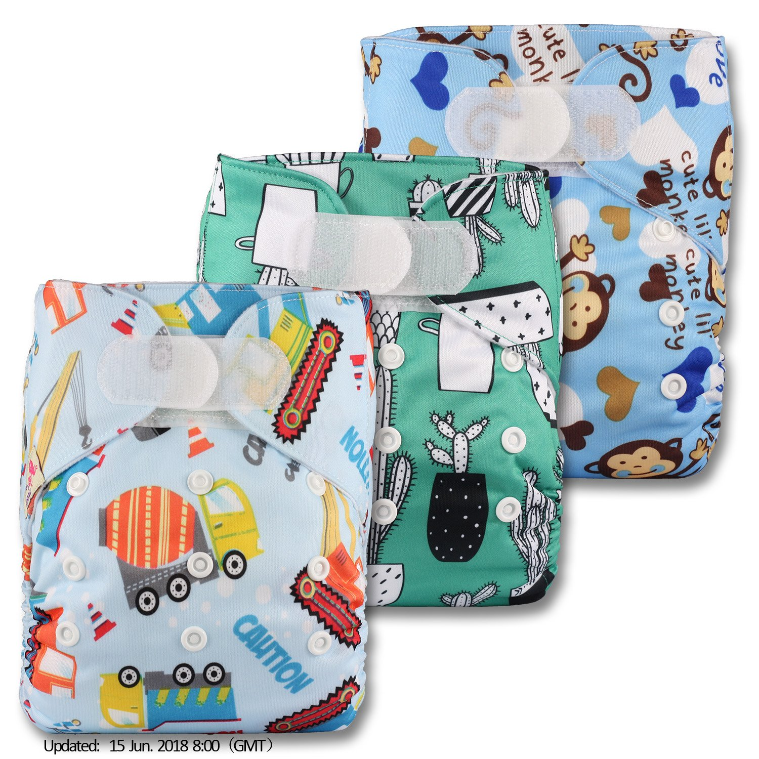 Littles & Bloomz, Reusable Pocket Cloth Nappy, Fastener: Hook-Loop, Set of 3, Patterns 304, With 6 Bamboo Inserts