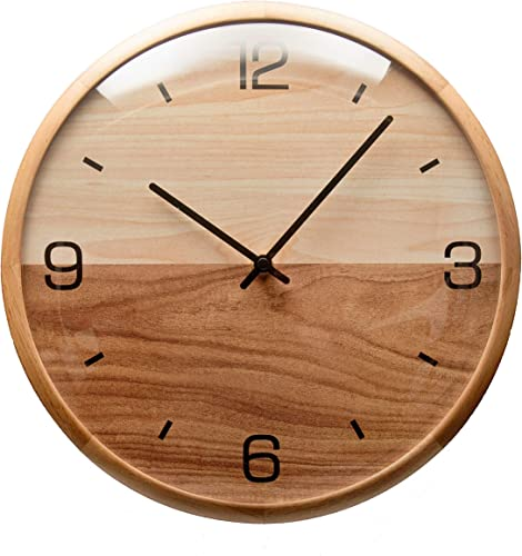Driini Analog Dome Glass Wall Clock 12 - Pine Wood Frame with Two-Tone Wooden Face - Battery Operated with Silent Movement - Large Decorative Clocks for Classroom, Office, Living Room, or Bedroom.