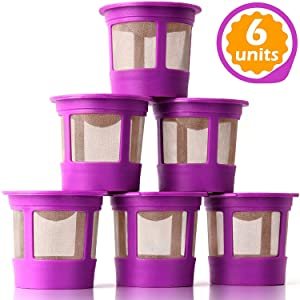 GoodCups 6 Pack Refillable Reusable K Cup Coffee Filters Accessories for Keurig 2.0 and Classic 1.0 Brewers