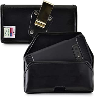 product image for Galaxy S10e A10e Belt Case, Turtleback Galaxy S10e A10e Holster, Rotating Belt Clip, Black Leather Pouch, Heavy Duty Horizontal Made in USA